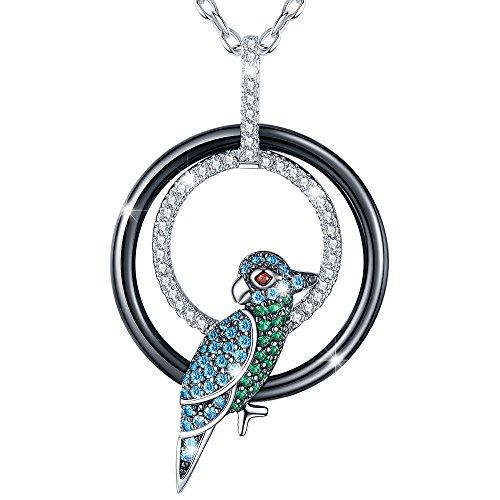 MARENJA-Valentinstag Geschenke Fashion Halskette Damen-mit Blau Vogel Anhänger Kette-Weiß Vergoldet Schmuck mit Kristall (Schuhe Vögel)