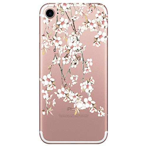 Pacyer iPhone 7 Hülle iPhone 8 Hülle Silikon Ultra dünn Transparent iPhone 8 Handyhülle Rückschale TPU Schutzhülle für Apple iPhone 7/8 Case Cover Rot Blume Mädchen Macaron (6)