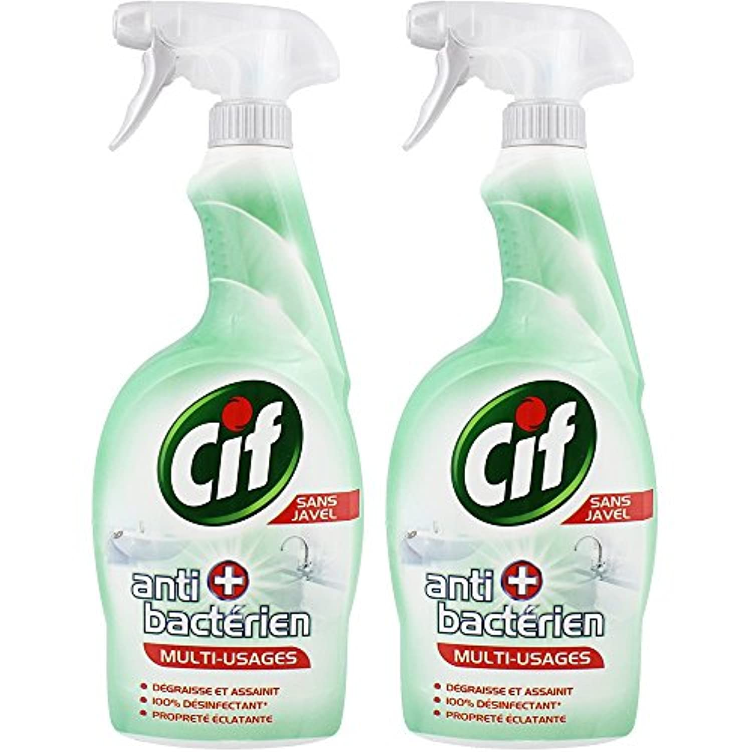 Cif Pistolet Spray Nettoyant Antibact Rien Sans Javel 750ml Lot De 2