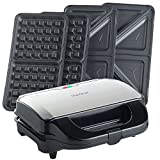 VonShef 2-in-1 Sandwich Toaster & Waffle Maker | Toastie Maker with Deep Fill