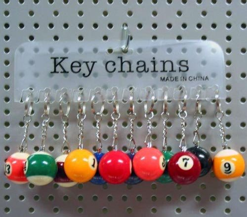 Billardkugeln Schlüsselanhänger 12er Set
