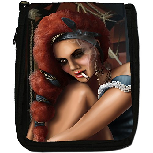 Bella Donna, modello Smoking-Borsa a tracolla in tela, colore: nero, taglia: M Nero (Sexy Pirate Winking On Ship)
