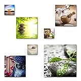 Feng Shui Bilder Set, 7-teiliges Bilder-Set, moderne seidenmatte Optik auf Forex, frei positionierbare schwebende Anbringung, UV-stabil, wasserfest, Kunstdruck für Büro, Wohnzimmer, XXL Deko Bilder