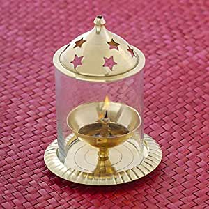 Angelic Copper Brass Udupi Jyot (7.5 cm x 7.5 cm x 12 cm, Golden)