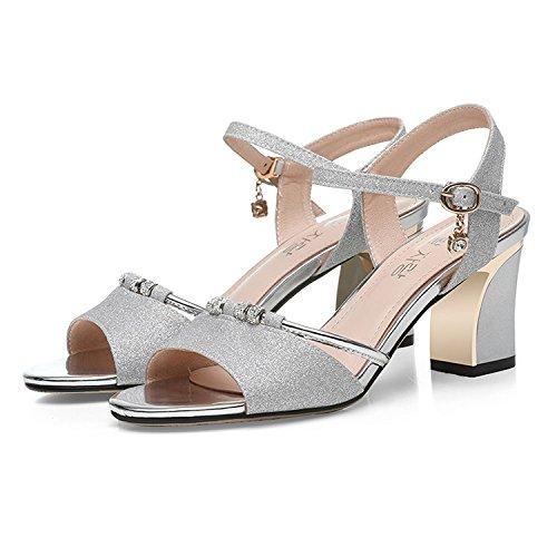 Damen Damen Open Toe Low Mid Block Heel Sandalen Slingback Knöchelriemen Sandalen Für Kleid Abend Hochzeit,Silver-EU:38/UK:5.5 Slingback Open Toe Pump