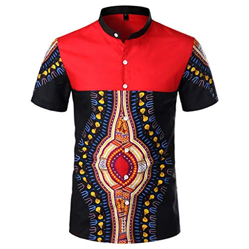 ZHANSANFM Hemd Herren Retro afrikanisch National Shirt Kurzarm Tops Button Down Kurzarmhemd Freizeit Hochzeit Kurze Ärmel Dashiki Kleidung Retro (S, Schwarz)
