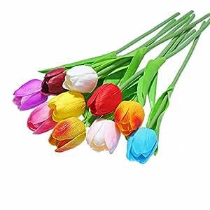 CCINEE - 10 mazzi di tulipani artificiali, effetto al tatto reale, per la casa, il giardino, matrimoni, decoro Multicolore