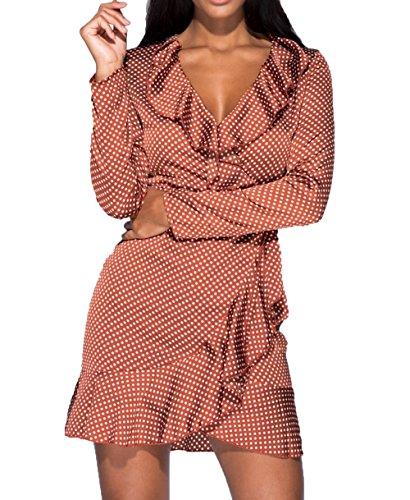 RE TECH UK da donna in raso avvolgente a pois abito manica lunga scollo a V profondo MINI fronzoli taglie 6-14 Vino