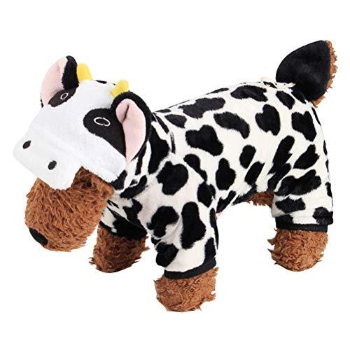 BESTOYARD Hund Kuh Kostüm Adorable Puppy Kleidung Kuh Stil Hoodie weich und bequem Overalls für kleine - Kuh Hoodie Hunde Kostüm