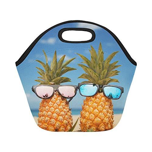 Isolierte Neopren-Lunchpaket Paar Attraktive Ananas Stilvolle verspiegelte Sonnenbrille Große wiederverwendbare thermische dicke Mittagessen-Tragetaschen für Lunch-Boxen für im Freien Arbeit