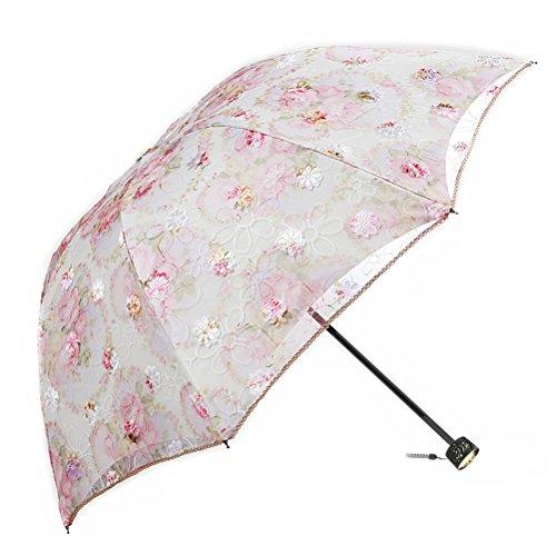 Regenschirm Taschenschirm, Damen Klein Spitze Schirme, Faltbar Kompakt Sonnenschirm UV-Schutz Winddicht Regenschirm, Double Layer Reise Outdoor Regenschirm, UPF50 +, Mankn