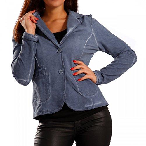 Made Italy - Veste de tailleur - Blouson - Uni - Manches Longues - Femme Bleu