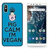 Hülle Mi A2 Case Xiaomi Mi A2 Veganes Leben Schwein Kalm Ich Bin Veganer/Cover Druck auch an den Seiten/Anti-Rutsch Anti-Rutsch Anti-Scratch Schock-resistenten Schutz Schutzulle Starre