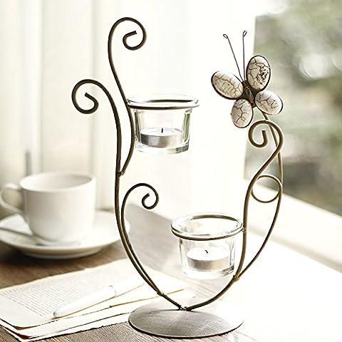 Europea del ferro battuto semplice farfalla portacandele in vetro/Accessori per