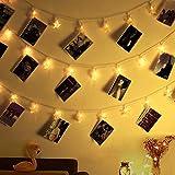 Led Star Clips Luces de cadena, Decoraciones de interiores Luces para Navidad, USB, 20 LEDs, 16 pies, Blanco cálido - Ideal para colgar fotos Cuadros y notas