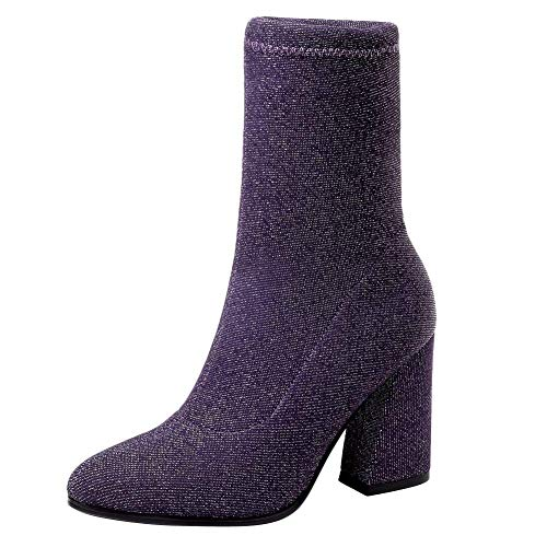 Coolulu Damen Blockabsatz High Heels Stiefeletten Glitzer Strech -