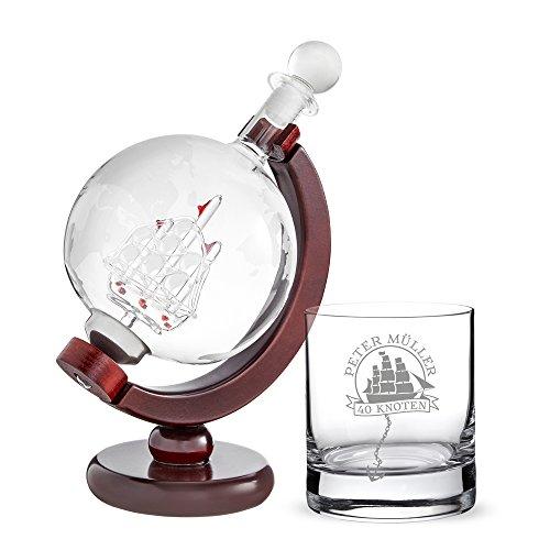 AMAVEL – Rumkaraffe Globus und Rumglas – 2er Set – Glas und Dekanter mit Gravur –...