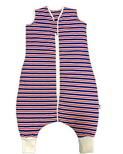 Schlummersack Baby Sommerschlafsack mit Füssen 1 Tog - Navy Streifen - 18-24 Monate/90 cm