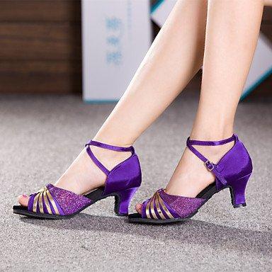 Scarpe da ballo - Non personalizzabile - Donna - Latinoamericano - Tacco cubano - Satin - Marrone / Viola Purple