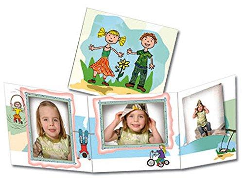 Foto-Profi-Shop Zientarra 100 STK. Portraitmappe 3-teilig für 13x18 Fotos & CD im Design Kids Fotomappe Leporello für Studio, Kindergarten, Schule