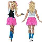 NET TOYS 80er Jahre Kostüm Damen Neonkleid S 36/38 Popstar Faschingskostüm Girly Mode Outfit Disco-Kostüm Rockstar Kleidung Achtziger Party
