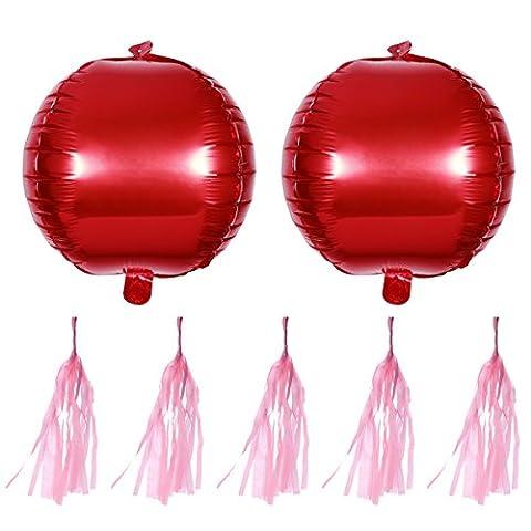 TOYMYTOY Rote Folienballon mit Quaste TOYMYTOY Heliumballon für Hochzeit Party Valentinstag Baby Dusche Dekoration (2 Stück Ballons + 5 Stück Quaste)