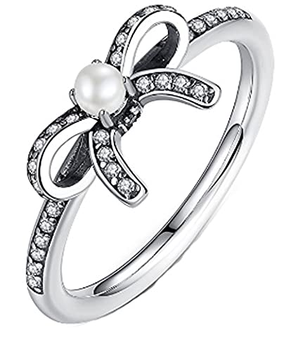 SaySure- 925 Sterling Silver Knot Bow Female Finger Ring (SIZE : 6)
