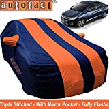 #4: Autofact Car Body Cover for Honda City Idtech (2014 to 2018) (Mirror Pocket , Premium Fabric , Triple Stiched , Fully Elastic , Orange / Blue Color)