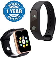 Drumstone Plastic Combo of Fitness Band and A1 Bluetooth Smartwatch with SIM, TF Card for Smartphones (Multicolour, Intelligence.Band+A1.Watch_1)