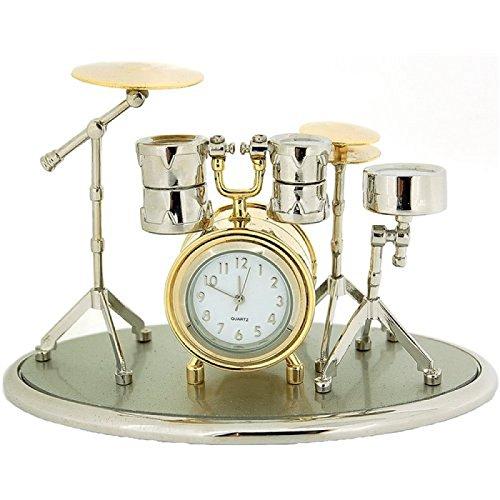 Mini Novelty Quarz Wecker für Sammler - silber-goldfarbnes Trommel Set 0470