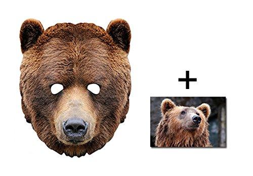 Kostüme Hollywood Kinder (Grizzly Brown Bär Tier Single Karte Partei Gesichtsmasken (Maske) Enthält 6X4 (15X10Cm))