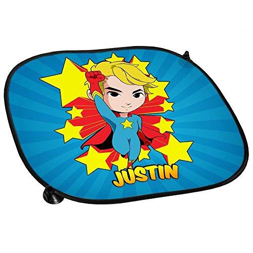 Auto-Sonnenschutz mit Namen Justin und Motiv mit Superheld für Jungen | Auto-Blendschutz | Sonnenblende | Sichtschutz