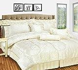 Couvre-lit de luxe Amazon Jacquard, couette matelassés, 7pièces , Polyester, Amazon/Cream, Double