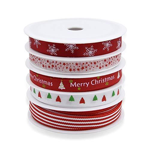 Paquete 5 rollos cinta grogrén 5 m diseño Navidad