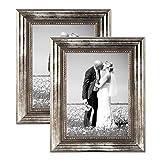 2er Set Bilderrahmen 30x40 cm Silber Barock Antik Massivholz mit Glasscheibe und Zubehör / Fotorahmen / Barock-Rahmen