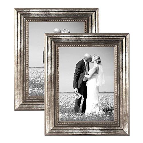 Photolini Bilderrahmen 21x30 cm/DIN A4 Silber Barock-Rahmen Antik 2er Set