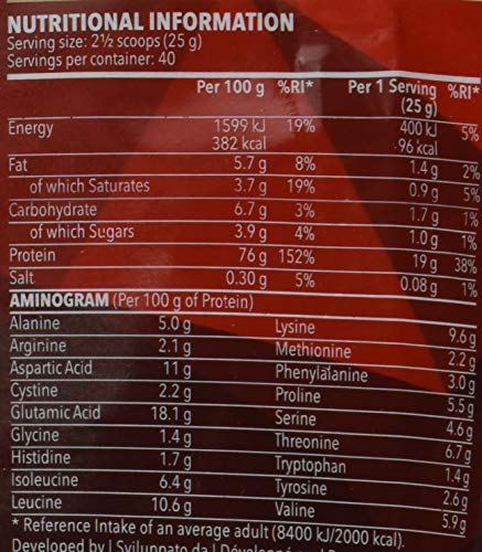 Prozis 100% Real Whey Proteine in Polvere, 1000 g, Vaniglia