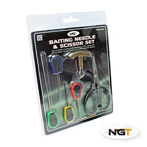 NGT - Lot de 6 Accessoires de pêche : Paire de Ciseaux et Outils pour appât
