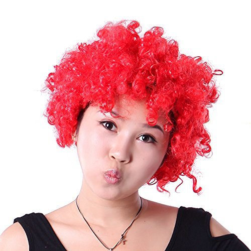 Mcdonald Clown Ronald Kostüm - HDE Bright Red Orphan Annie Curly Afro-Perücke Party Kostüm Clown Design