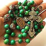 Halskette mit Anhänger in Kreuzform, handgefertigt, Tibet-Kupferperlen und Howlith-Perlen, Antik-Optik, katholischer Rosenkranz Pardon Kruzifix, bronzefarben