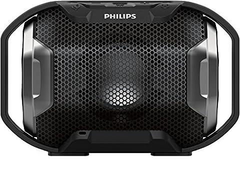 Philips Shoqbox SB300B Enceinte Bluetooth Portable sans Fil avec LED, Etanche, Résistante aux Chocs, 8h d'Autonomie, 4W, Noir
