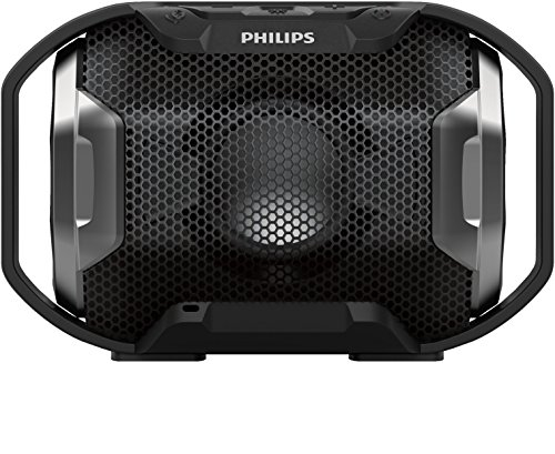 Philips SB300B/00 - Altavoz Bluetooth portátil inalámbrico (luces LED, a prueba de agua IPX7 y golpes, LED multicolor), negro