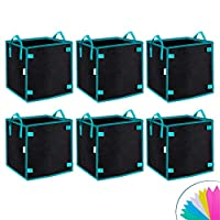 ‏‪OPULENT SYSTEMS 6 Pack 7 Gallon Heavy Duty Square Grow Bags Thickened Nonwoven Fabric Pots with Handles and Stick Holders for Poles (Black)‬‏