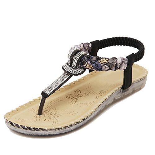 Da donna Scarpe sandalo flip-flop Di Fiori Pietre del Strass Bohemia Nero