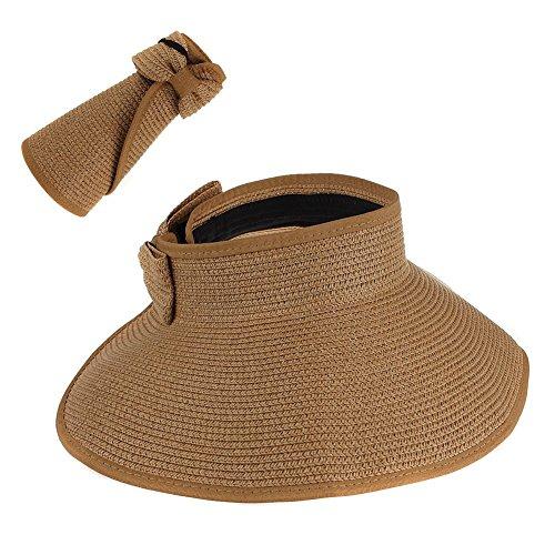 TININNA Sombrero,Plegable Grande Ala Playa Paja Sol Sombrero del Verano Casquillo del Sombrero de Visera para Viajar al Aire Libre Mujer-Caqui