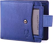 Wildhorn Genuine Leather Hand-Crafted Wallet Men Wallets, Blue, 10 cm - WHW125