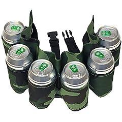 Idea Regalo - Dzine - Cintura porta birre mimetica con 6 posti cartucciera per lattine