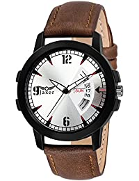 Jaxer Day And Date Silver Dial Analog Watch For Men & Boys - JXRM2113