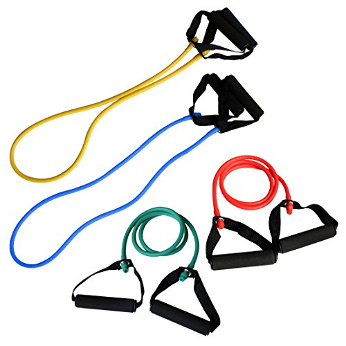 Andux Zone Pilates Fitness-Tube mit Schaumstoffgriffen TLD-09 (Set of 4) 4-zonen Expander