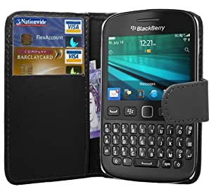 Blackberry 9720 Case - Black Exclusive PU Leather Easy Clip On WALLET Case / Cover / Pouch With Card Holders & Clear Screen Protector & Black High Capacitive Stylus Pen By Excellent Accessories